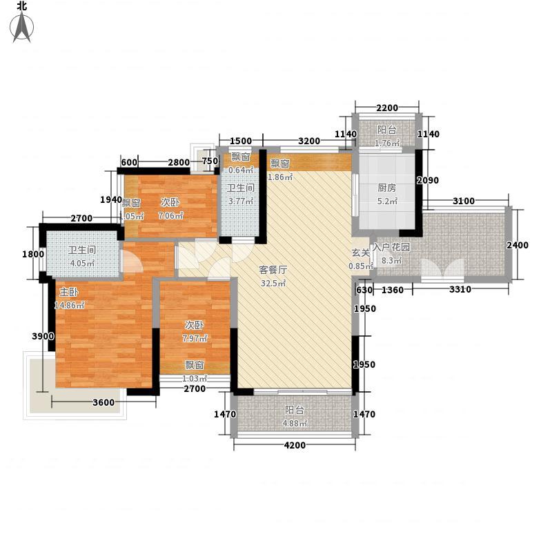 金山湖・丹荔园117.00㎡B1户型3室2厅2卫1厨
