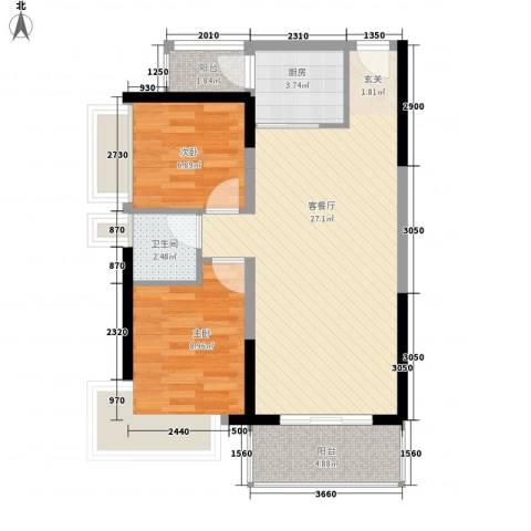中天彩虹城2室1厅1卫1厨78.00㎡户型图