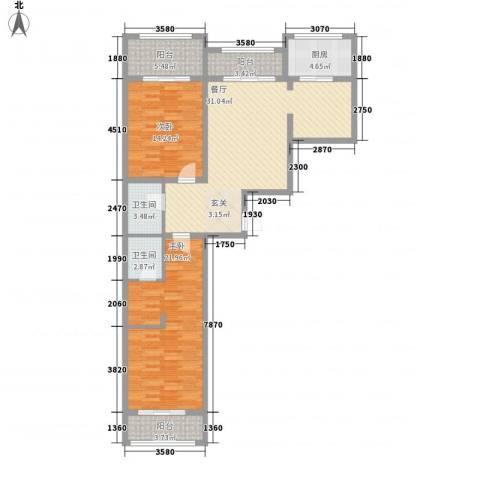金兴星海国际2室1厅2卫1厨138.00㎡户型图
