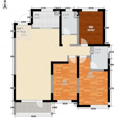 万科城峰汇3室1厅2卫1厨252.00㎡户型图