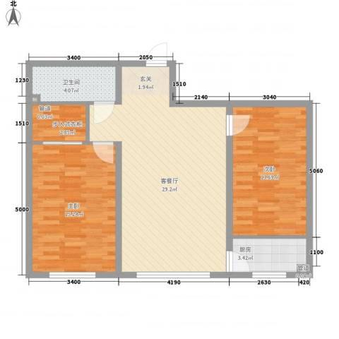 四环花园2室1厅1卫1厨97.00㎡户型图