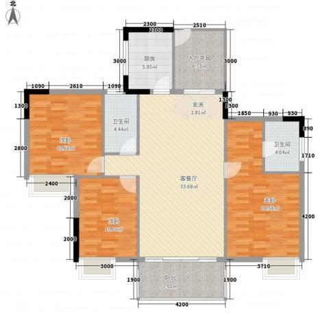 罗浮山岭南雅苑3室1厅2卫1厨124.00㎡户型图