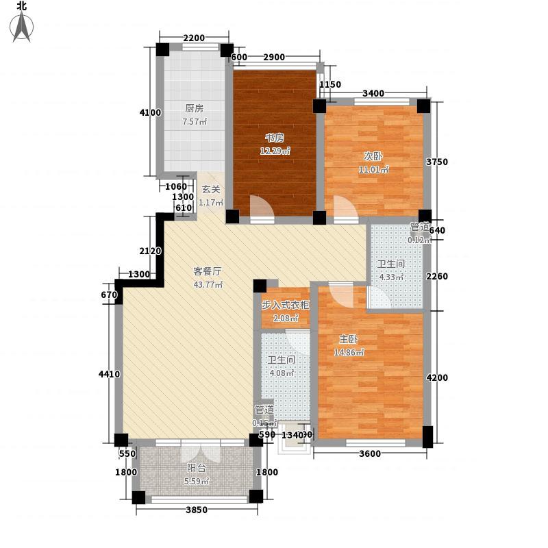 绿城百合花园122.00㎡C1户型3室2厅2卫