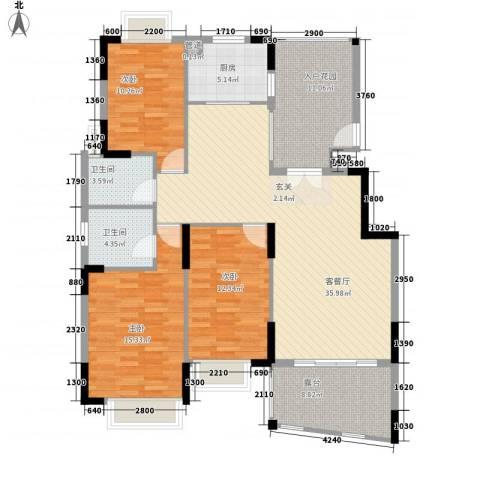 山水芳邻3室1厅2卫1厨126.00㎡户型图