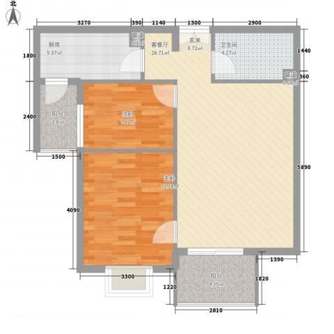 汇雅风尚2室1厅1卫1厨85.00㎡户型图