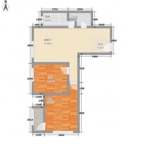 芳汀花园2室1厅1卫1厨114.00㎡户型图