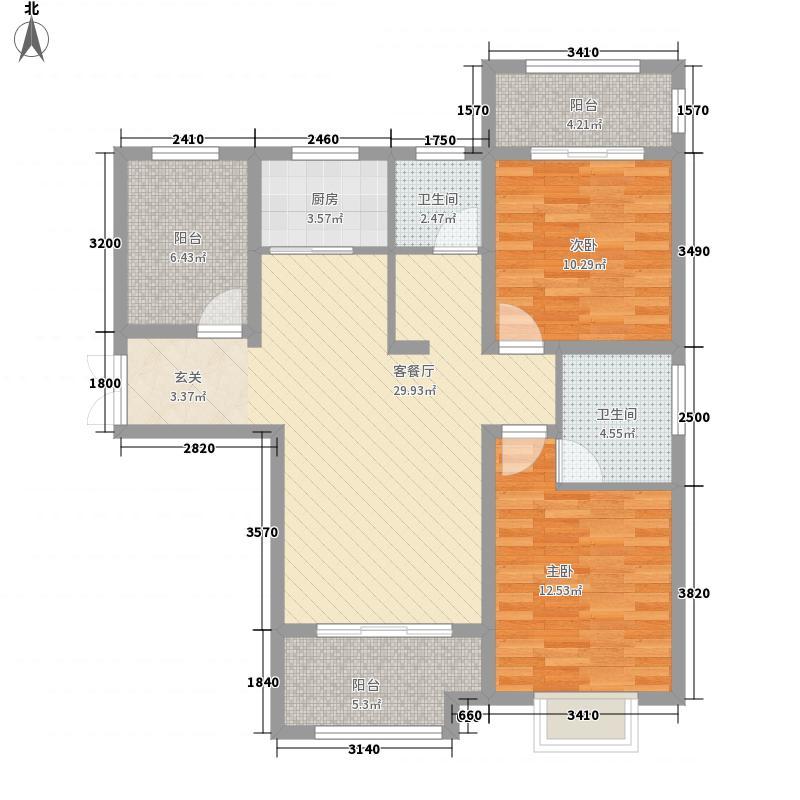 翰林华府115.66㎡3A-4户型3室2厅2卫1厨