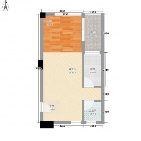 恒和主场1厅1卫1厨47.00㎡户型图