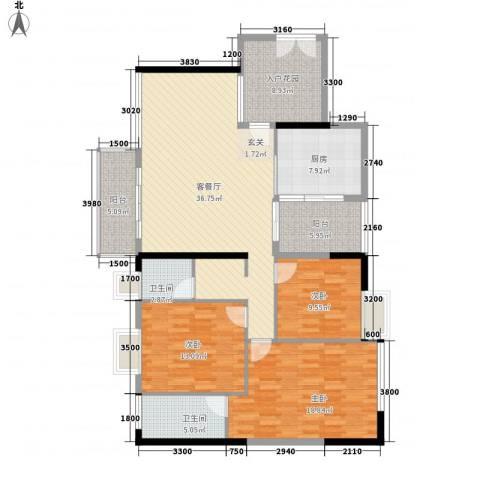 罗浮山岭南雅苑3室1厅2卫1厨136.00㎡户型图