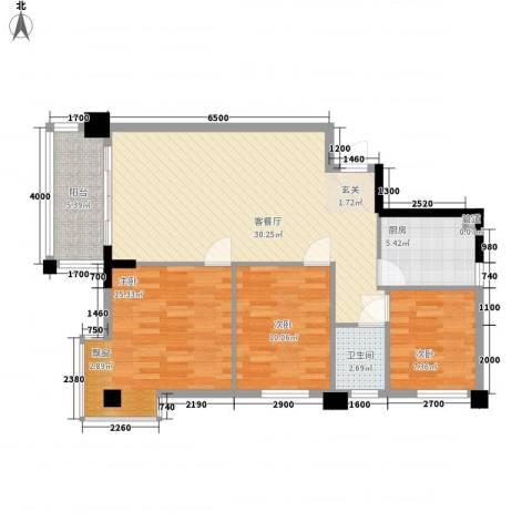 大湖新城3室1厅1卫1厨107.00㎡户型图