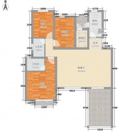 芳汀花园3室1厅2卫1厨135.00㎡户型图