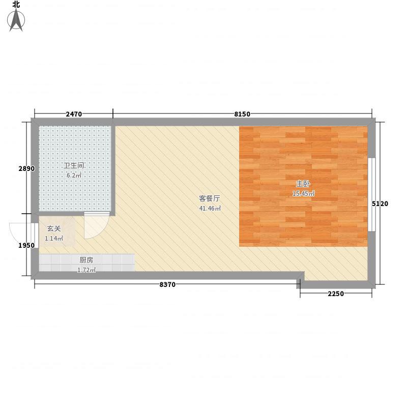 世茂铂晶宫66.00㎡A户型1室1厅1卫1厨