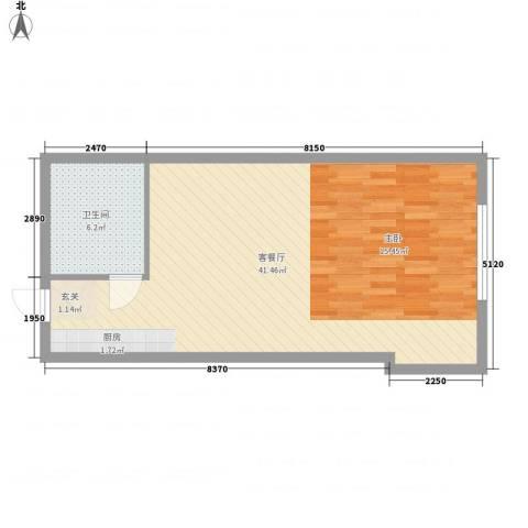 世茂铂晶宫1厅1卫0厨66.00㎡户型图