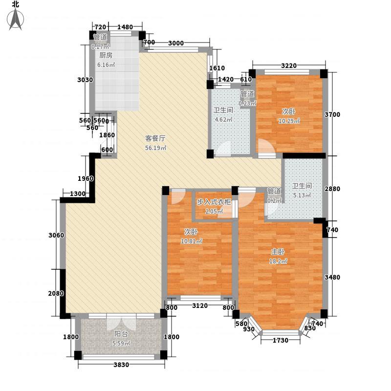 绿城百合花园142.00㎡E1户型3室2厅2卫