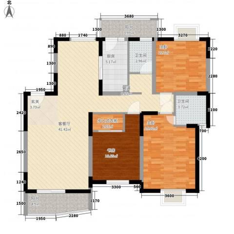 现代星洲城三期3室1厅2卫1厨144.00㎡户型图