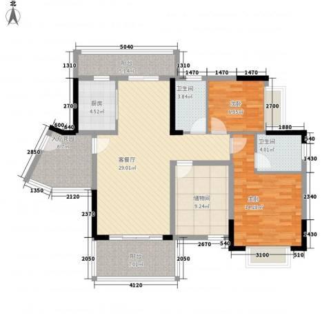港城花园2室1厅2卫1厨131.00㎡户型图