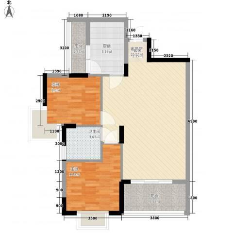 大湖新城2室1厅1卫1厨93.00㎡户型图