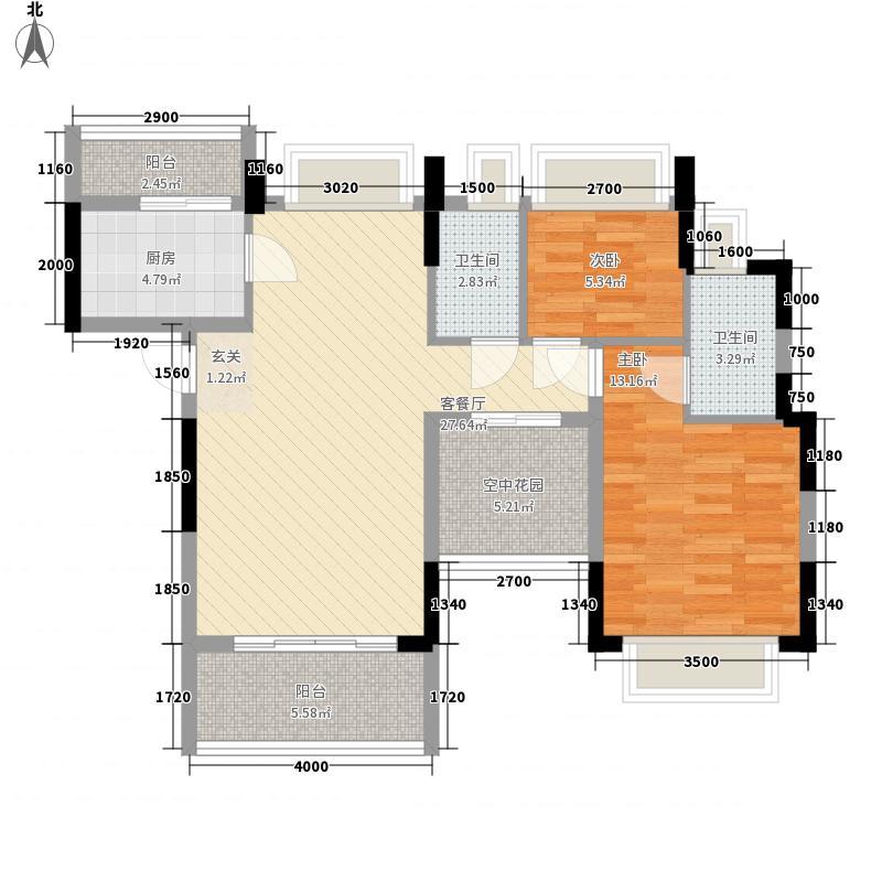 金山湖・丹荔园6.00㎡B2户型2室2厅2卫1厨