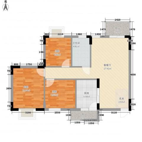正泰花园3室1厅1卫1厨99.00㎡户型图