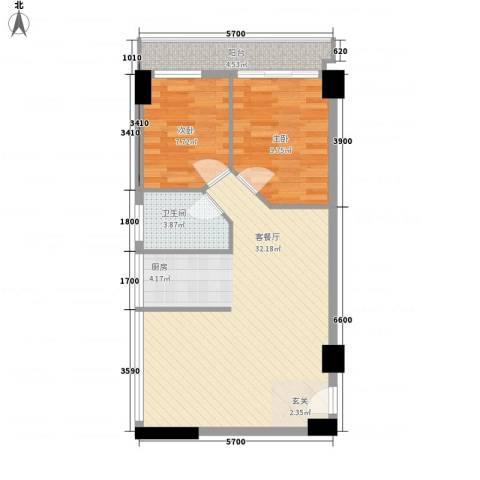恒和主场2室1厅1卫0厨72.00㎡户型图
