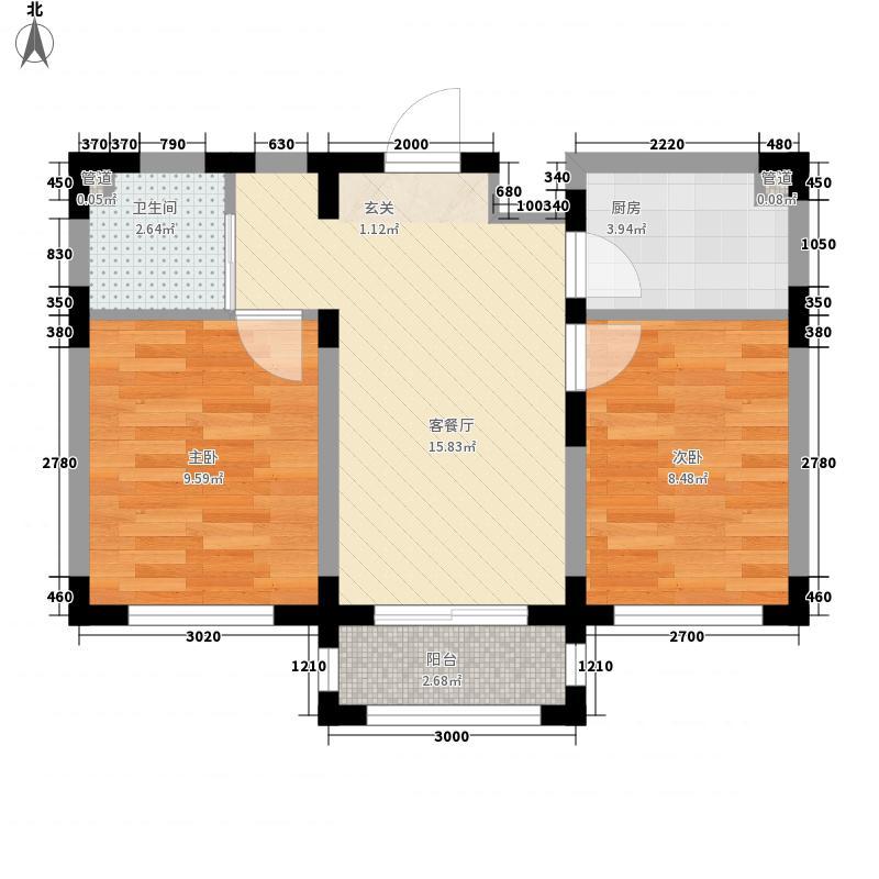 怡庭美苑6.50㎡一期E户型2室1厅1卫