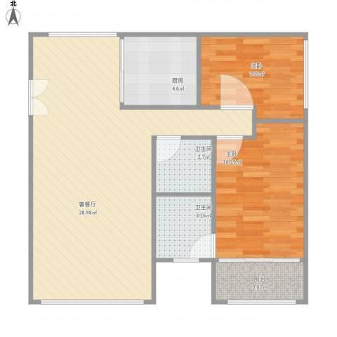 名仕园2室1厅2卫1厨65.02㎡户型图