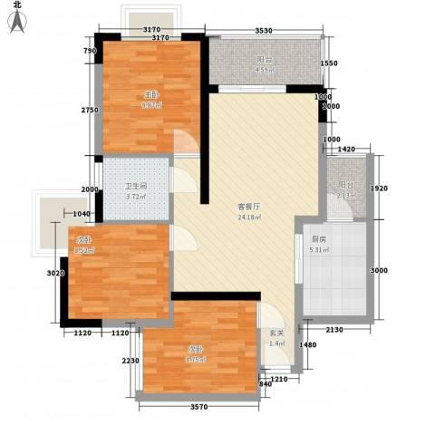 正泰花园3室1厅1卫1厨96.00㎡户型图