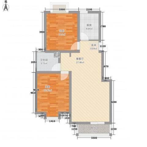 汐岸尚景2室1厅1卫1厨90.00㎡户型图