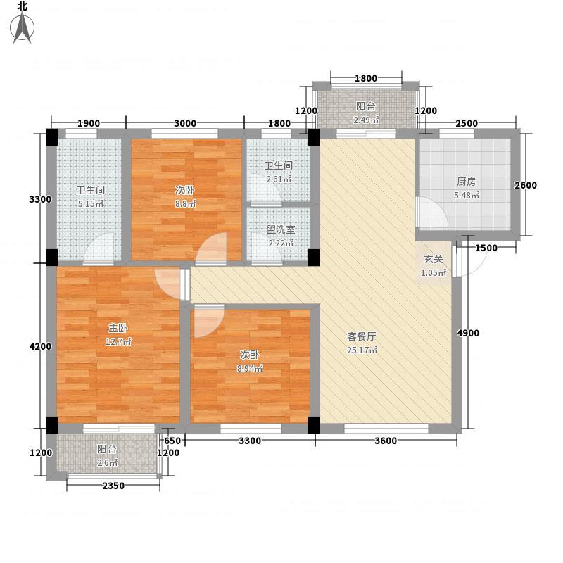 联投金色港湾剑桥郡8.30㎡1、3、8-12栋8-1户型3室2厅2卫1厨