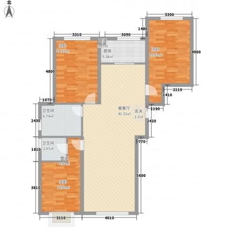 四环花园3室1厅2卫1厨137.00㎡户型图