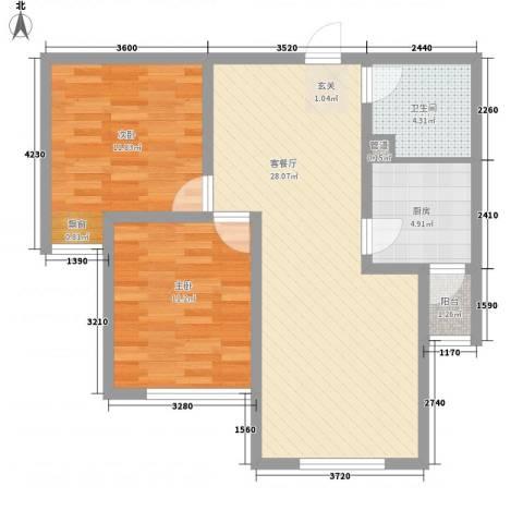 汐岸尚景2室1厅1卫1厨89.00㎡户型图