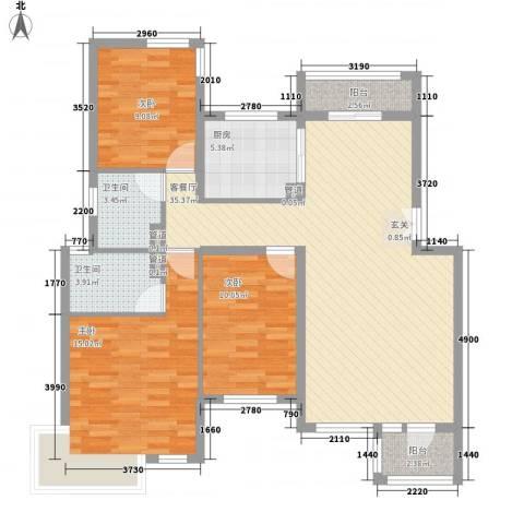 首创隽府3室1厅2卫1厨125.00㎡户型图