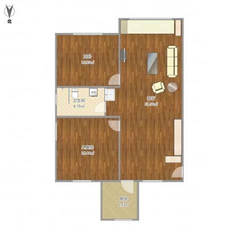 北中路280弄小区2室1厅1卫1厨133.00㎡户型图