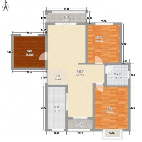 南洋大厦3室1厅1卫1厨135.00㎡户型图