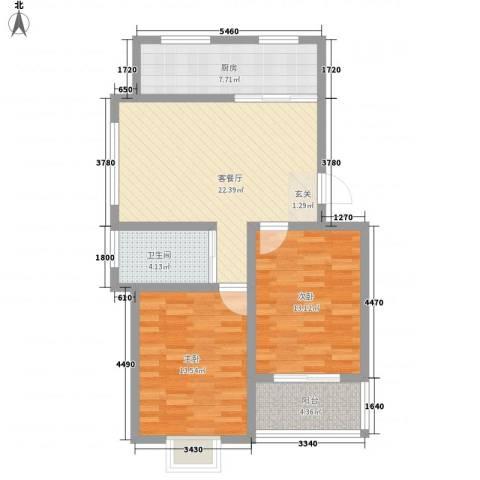 丽华新村续建房2室1厅1卫1厨75.52㎡户型图