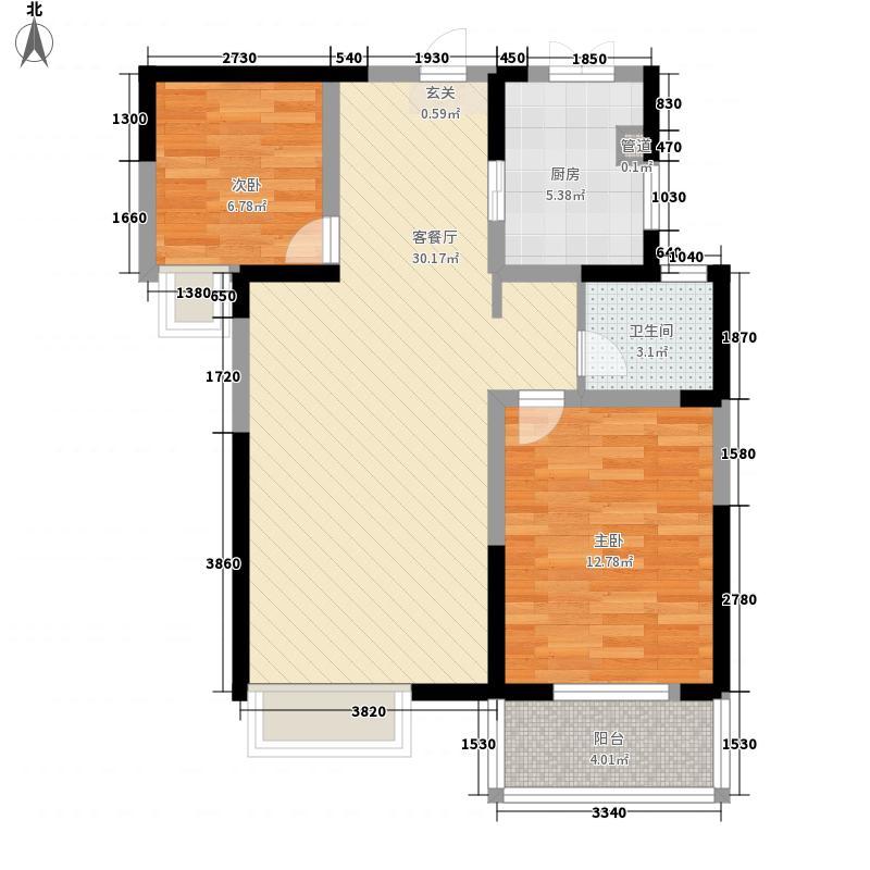 汉飞金沙国际13#楼东、西2户户型2室2厅1卫1厨
