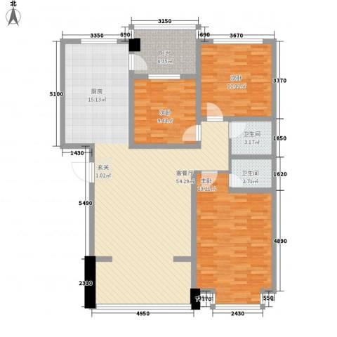东区国际3室1厅2卫0厨153.00㎡户型图