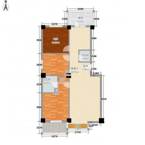 世纪嘉园3室1厅2卫1厨124.00㎡户型图