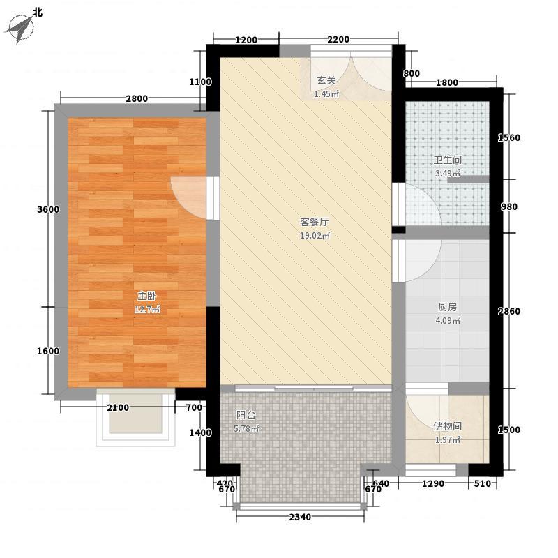 东安家园一室两厅一卫户型1室2厅1卫1厨