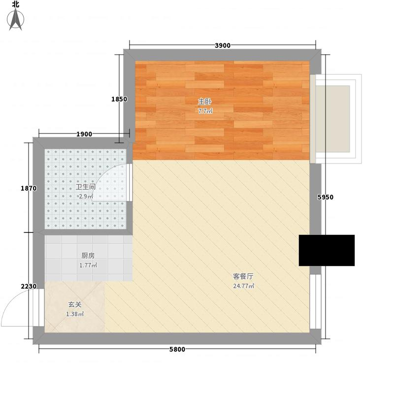 港汇中心0室1厅1卫0厨43.00㎡户型图