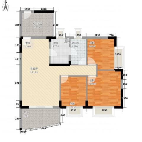 绿海名居3室1厅1卫1厨80.76㎡户型图