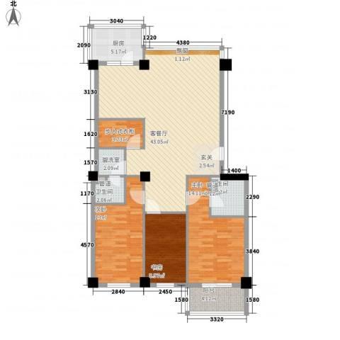 世纪嘉园3室2厅2卫1厨141.00㎡户型图