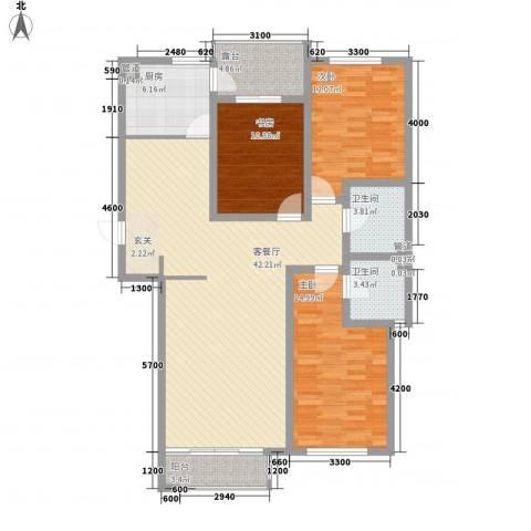 坤泰新界3室1厅2卫1厨139.00㎡户型图