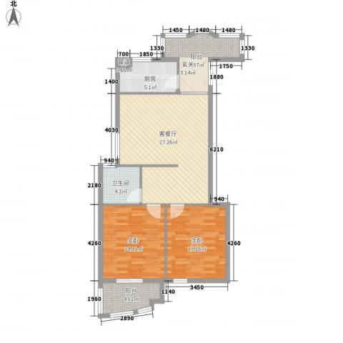 罗马生态园2室1厅1卫1厨90.00㎡户型图