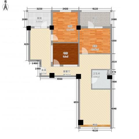 世纪嘉园3室1厅1卫1厨139.00㎡户型图