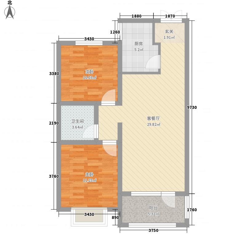 海滨御苑84.00㎡一期1-8号楼C户型2室2厅1卫1厨