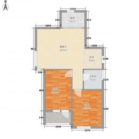 泰荣湾2室1厅1卫1厨91.00㎡户型图