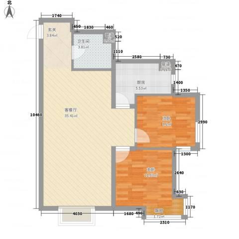 城市玫瑰园2室1厅1卫1厨93.00㎡户型图
