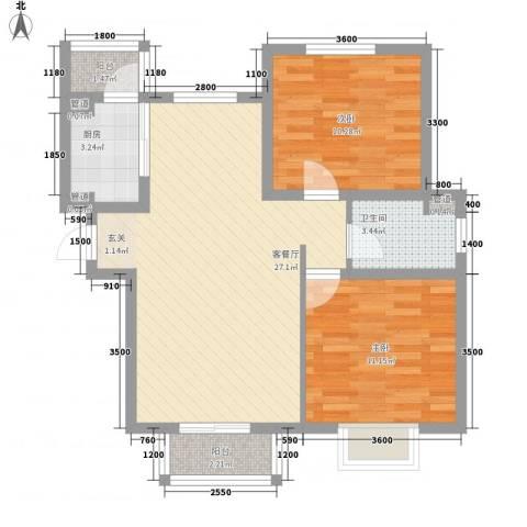 浩友凤凰城2室1厅1卫1厨89.00㎡户型图
