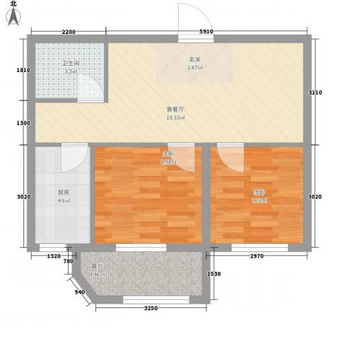 泰荣湾2室1厅1卫1厨69.00㎡户型图